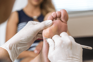 Podiatrist working